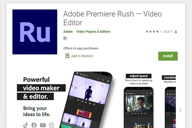 Adobe Premier Rush Video Editor