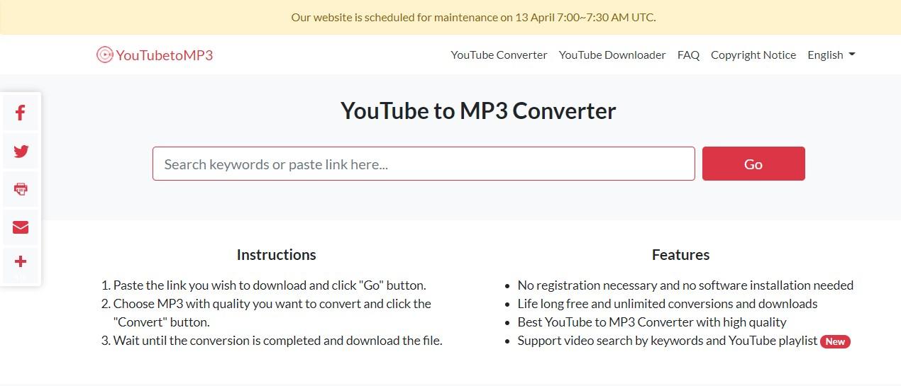 YouTubeToMP3 Converter Online