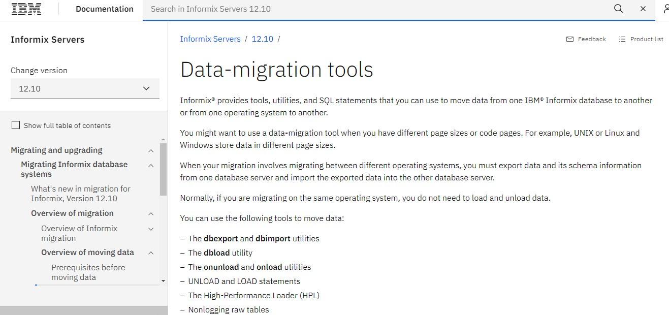 IBM - Informix Data Migration Tool